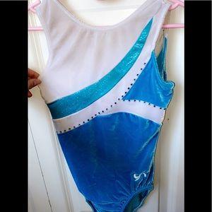 Blue&white w/ rhinestones gymnastics Leotard GK